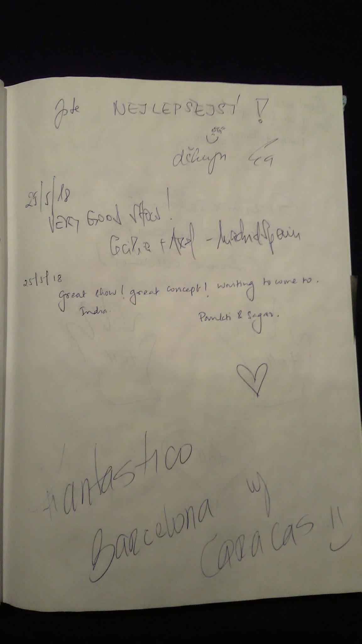 Black light theatre guestbook